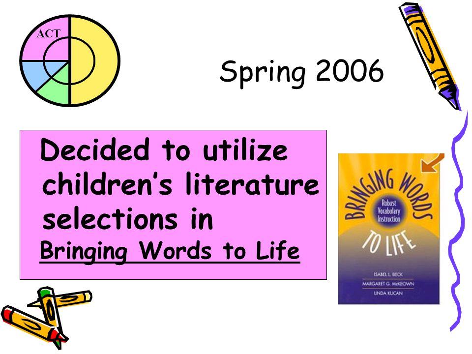 ACT Spring 2006 Decided to utilize childrens literature selections in Bringing Words to Life