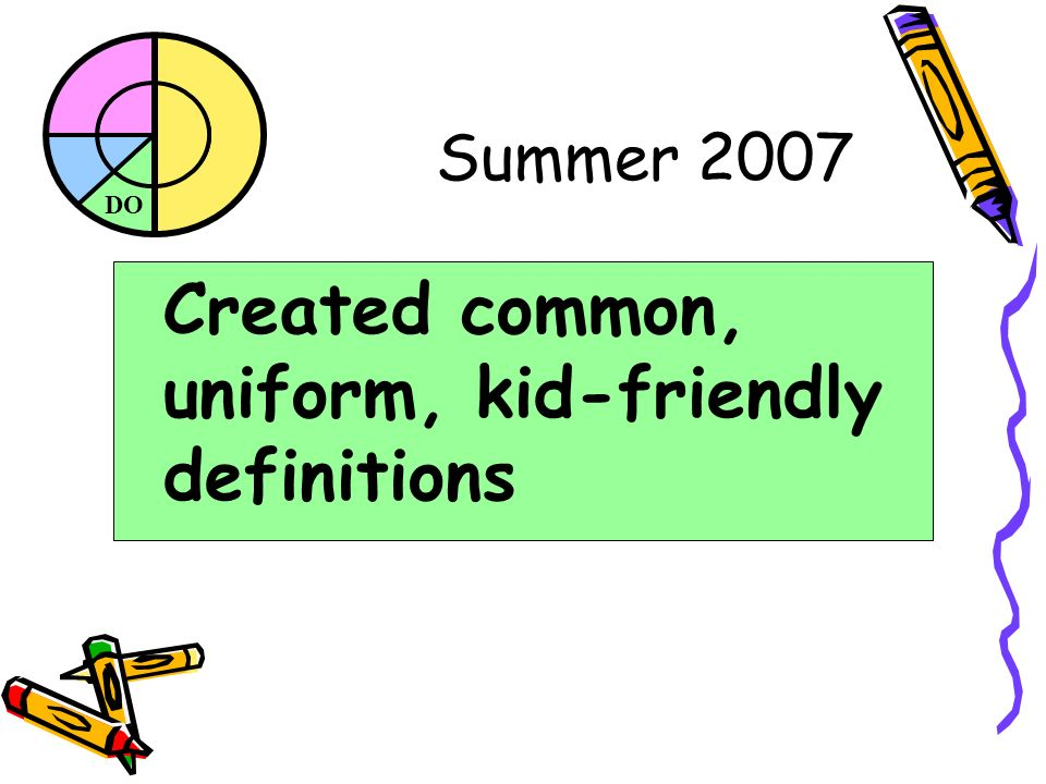 DO Summer 2007 Created common, uniform, kid-friendly definitions