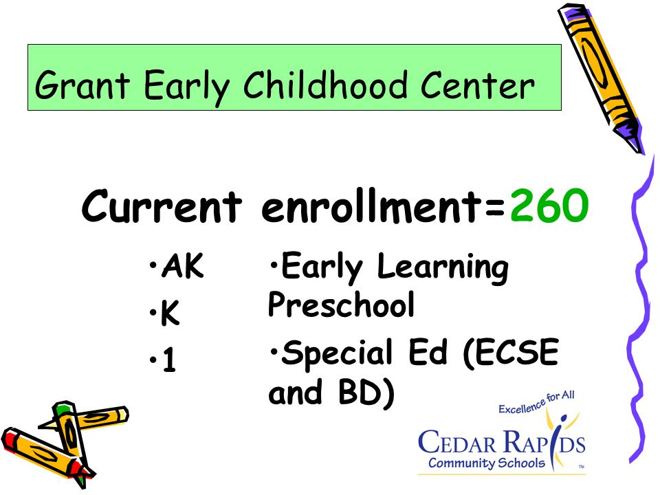 Current enrollment=260 AK K 1 Early Learning Preschool Special Ed (ECSE and BD) Grant Early Childhood Center