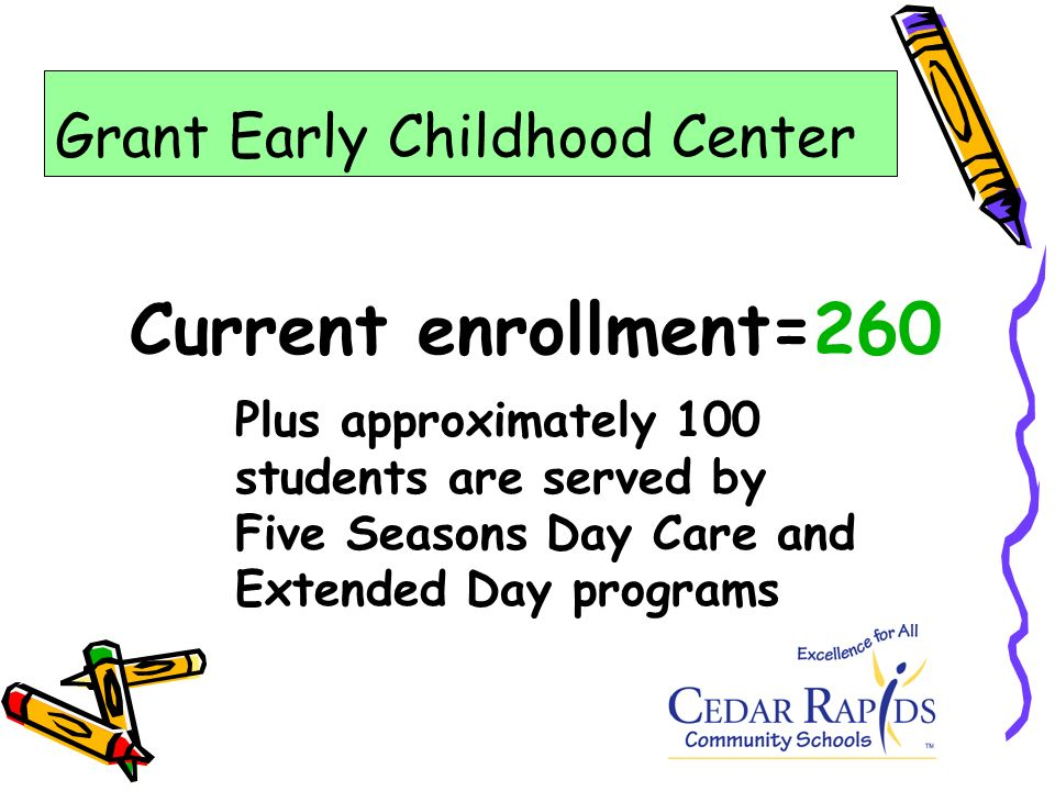 Current enrollment=260 Plus approximately 100 students are served by Five Seasons Day Care and Extended Day programs Grant Early Childhood Center