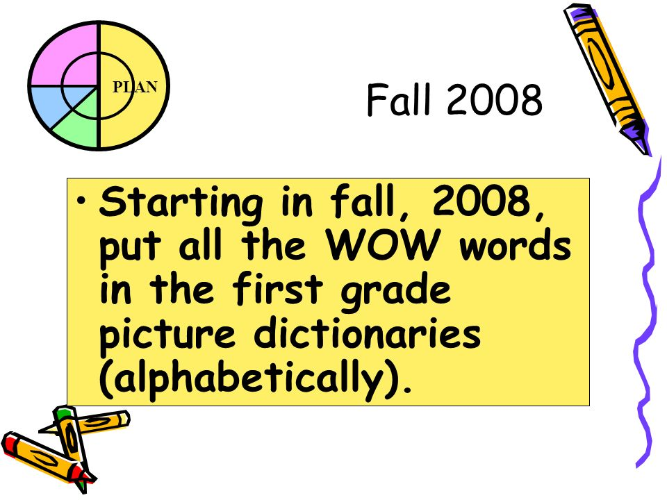 PLAN Fall 2008 Starting in fall, 2008, put all the WOW words in the first grade picture dictionaries (alphabetically).
