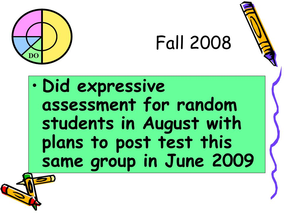 DO Fall 2008 Did expressive assessment for random students in August with plans to post test this same group in June 2009