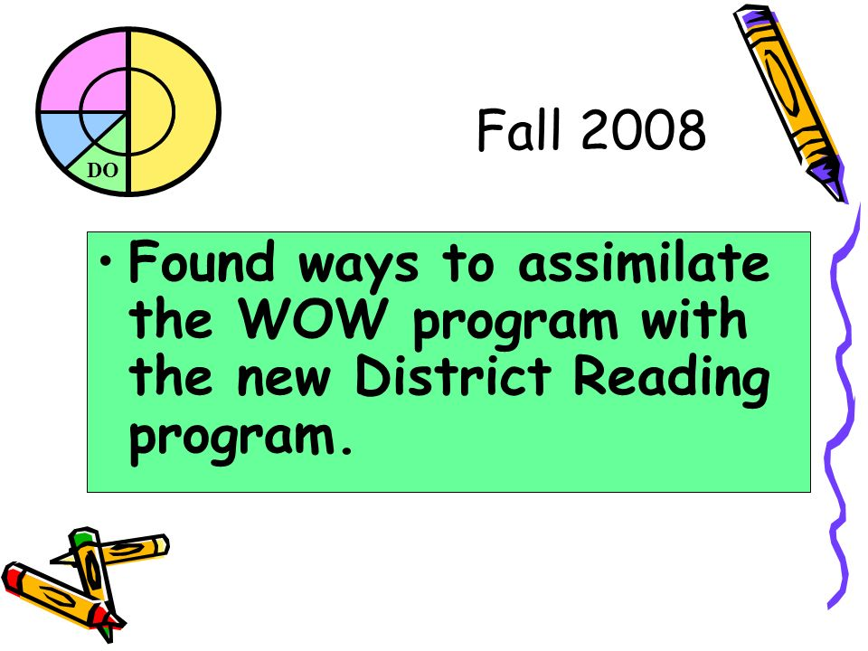 DO Fall 2008 Found ways to assimilate the WOW program with the new District Reading program.