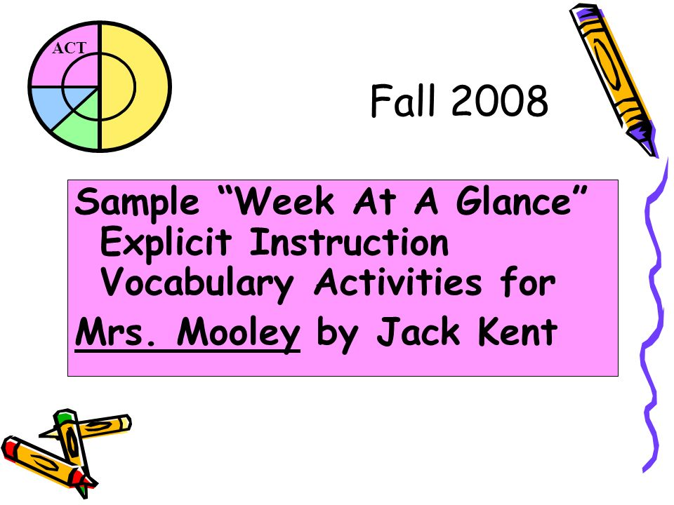 ACT Fall 2008 Sample Week At A Glance Explicit Instruction Vocabulary Activities for Mrs.