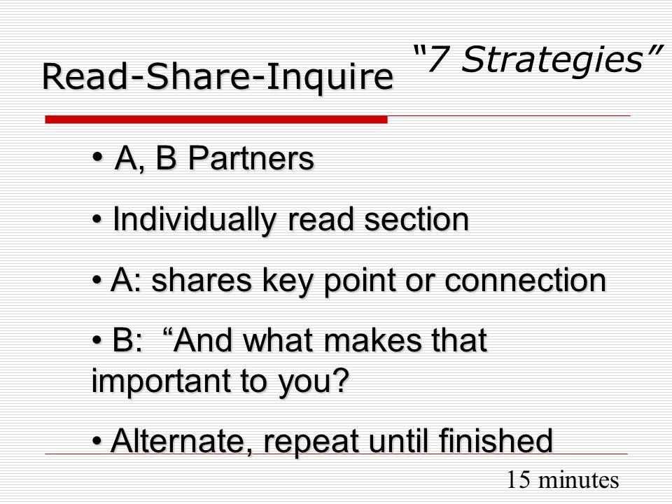 A, B Partners A, B Partners Individually read section Individually read section A: shares key point or connection A: shares key point or connection B: