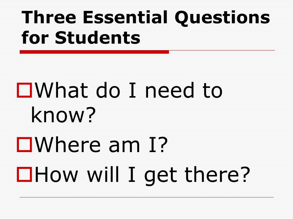 Three Essential Questions for Students What do I need to know? Where am I? How will I get there?
