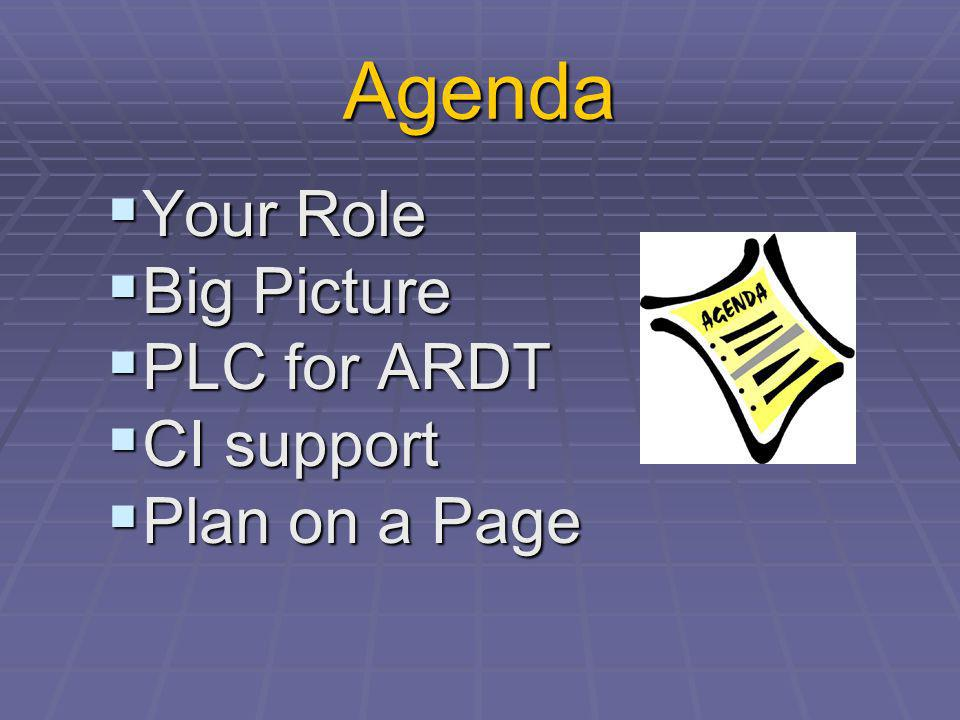 Agenda Your Role Your Role Big Picture Big Picture PLC for ARDT PLC for ARDT CI support CI support Plan on a Page Plan on a Page