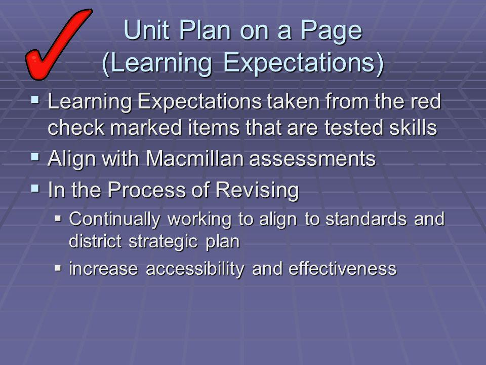 Unit Plan on a Page (Learning Expectations) Learning Expectations taken from the red check marked items that are tested skills Learning Expectations taken from the red check marked items that are tested skills Align with Macmillan assessments Align with Macmillan assessments In the Process of Revising In the Process of Revising Continually working to align to standards and district strategic plan Continually working to align to standards and district strategic plan increase accessibility and effectiveness increase accessibility and effectiveness