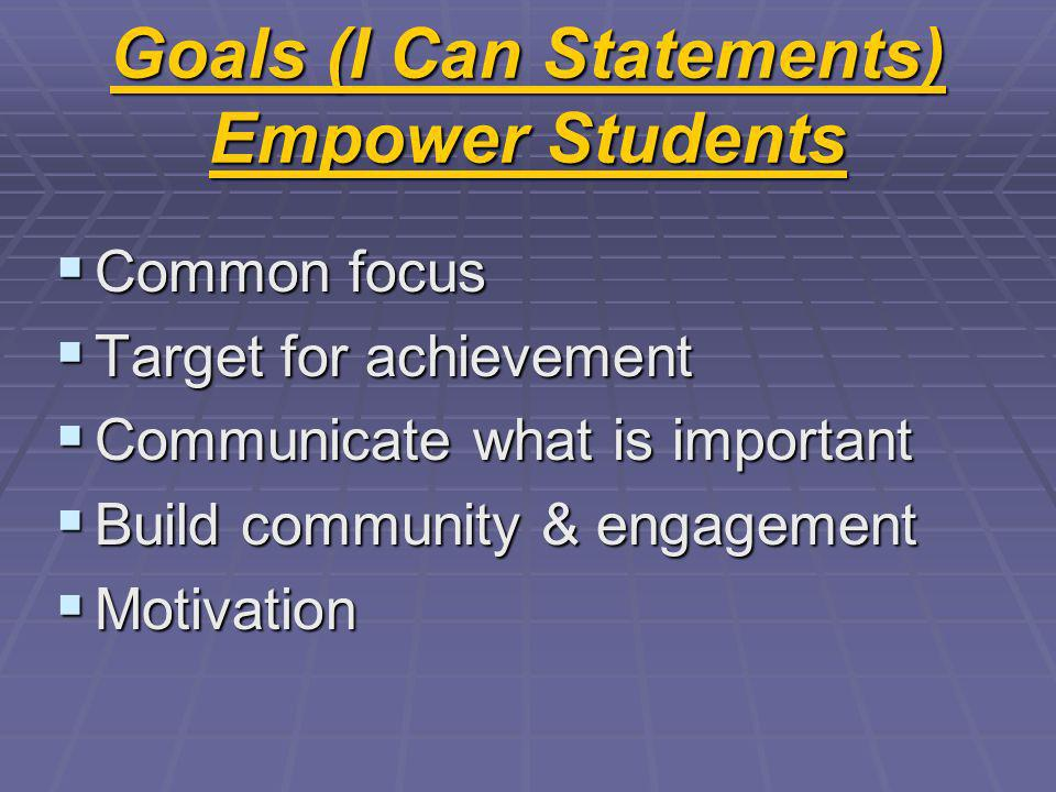 Goals (I Can Statements) Empower Students Common focus Common focus Target for achievement Target for achievement Communicate what is important Communicate what is important Build community & engagement Build community & engagement Motivation Motivation