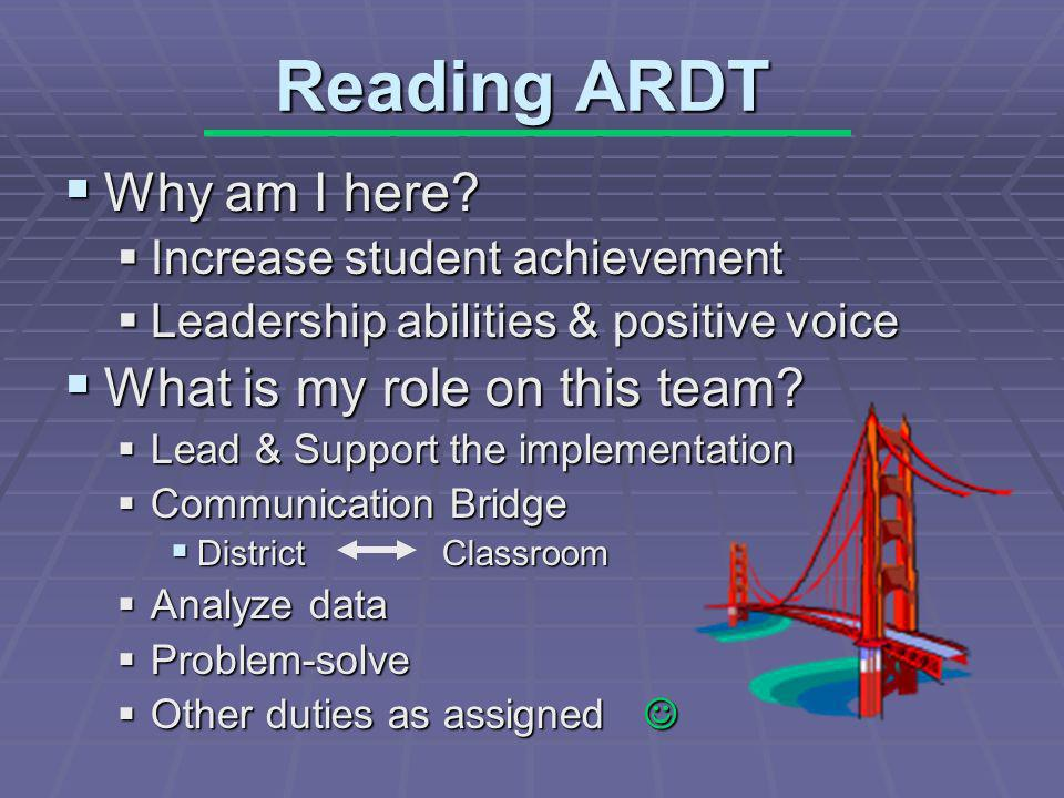 Reading ARDT Why am I here. Why am I here.