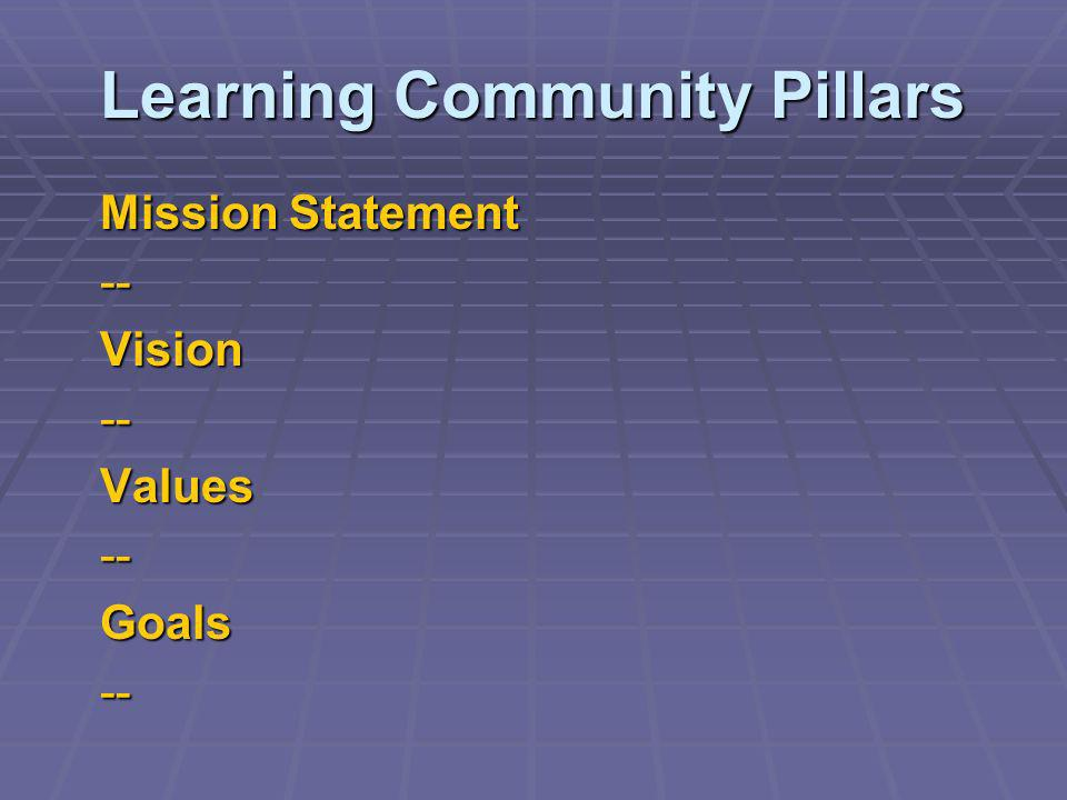 Learning Community Pillars Mission Statement --Vision--Values--Goals--