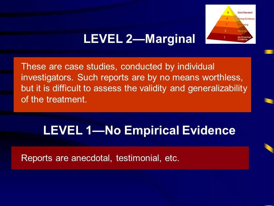 LEVEL 2Marginal These are case studies, conducted by individual investigators. Such reports are by no means worthless, but it is difficult to assess t