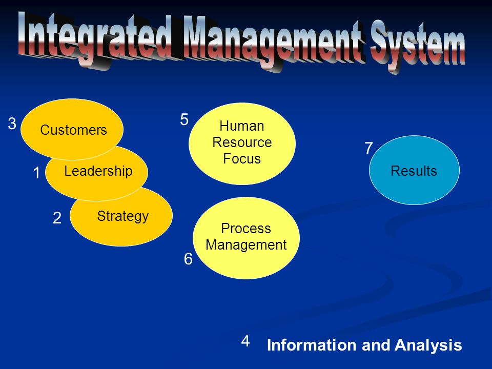 Human Resource Focus Process Management Strategy Leadership Customers Information and Analysis 1 2 3 4 5 6