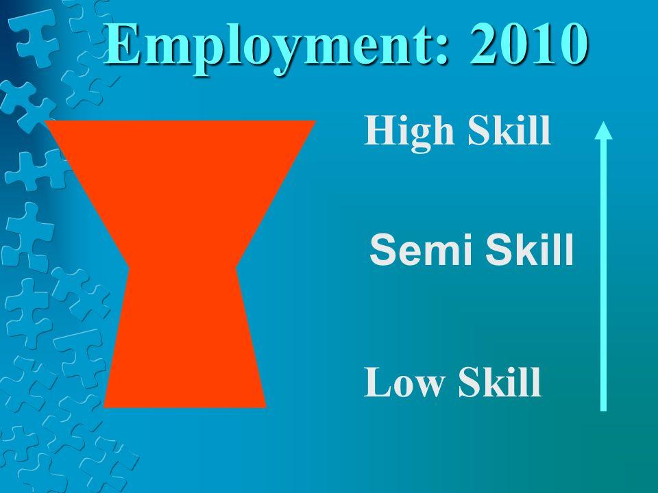 Employment: 2010 High Skill Low Skill Semi Skill