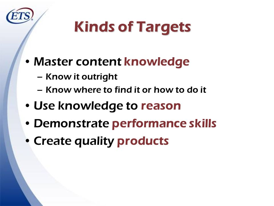 Kinds of Targets Master content knowledge –Know it outright –Know where to find it or how to do it Use knowledge to reason Demonstrate performance ski