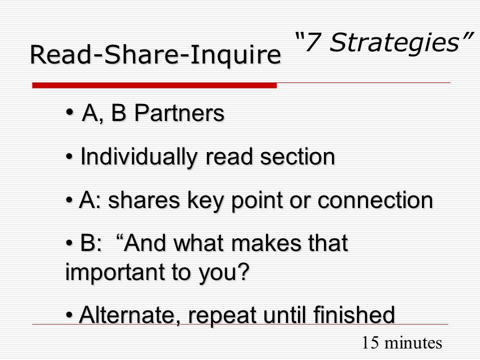 A, B Partners A, B Partners Individually read section Individually read section A: shares key point or connection A: shares key point or connection B: