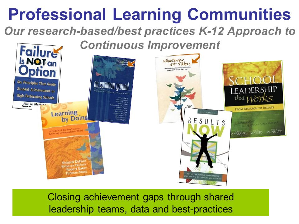 Professional Learning Communities Our research-based/best practices K-12 Approach to Continuous Improvement Closing achievement gaps through shared leadership teams, data and best-practices