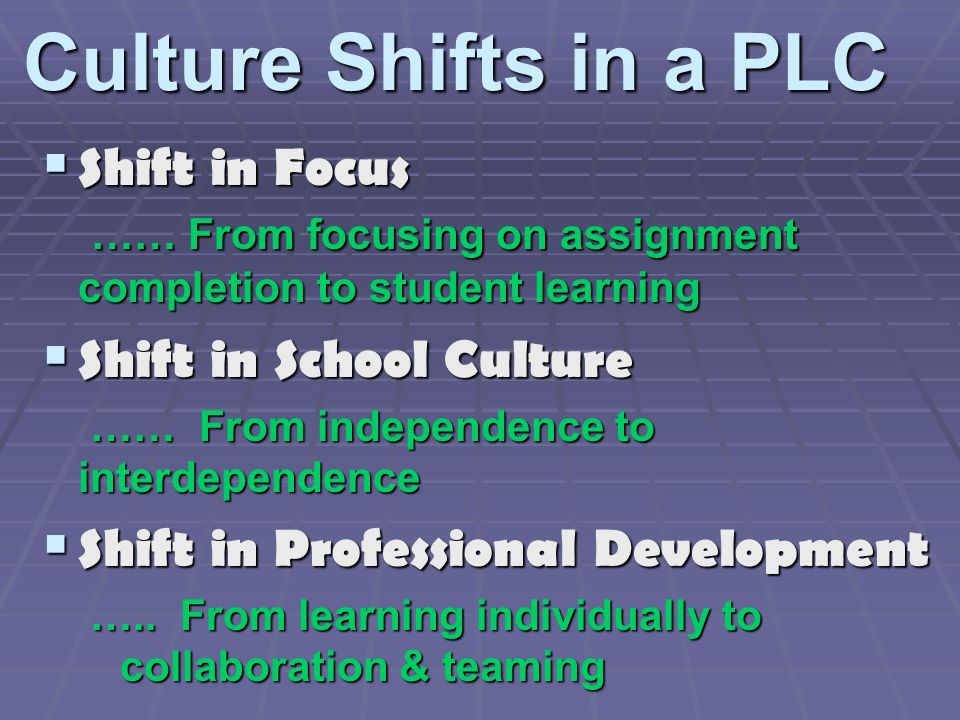 Culture Shifts in a PLC Shift in Focus …… From focusing on assignment completion to student learning Shift in Focus …… From focusing on assignment completion to student learning Shift in School Culture Shift in School Culture …… From independence to interdependence …… From independence to interdependence Shift in Professional Development Shift in Professional Development …..