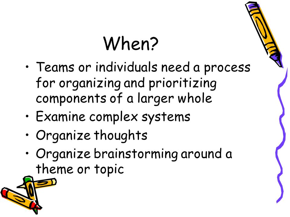 Why? Defines the topic being studied Fosters thinking skills Organize ideas Identify relationships