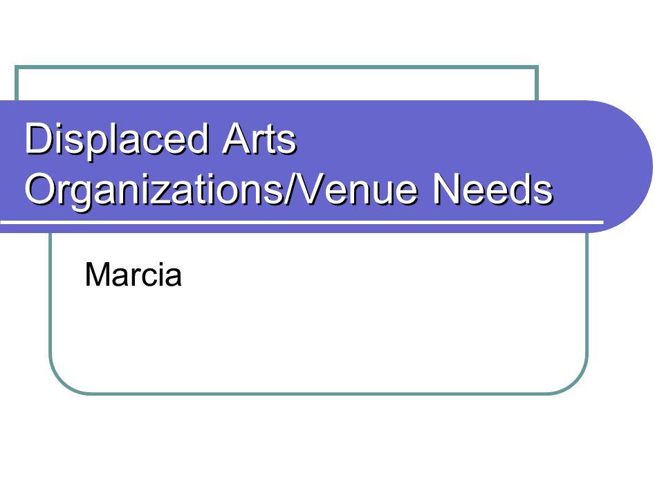 Displaced Arts Organizations/Venue Needs Marcia