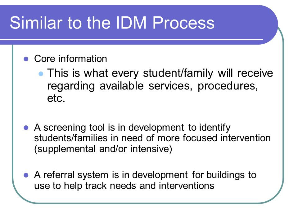 Similar to the IDM Process Core information This is what every student/family will receive regarding available services, procedures, etc.