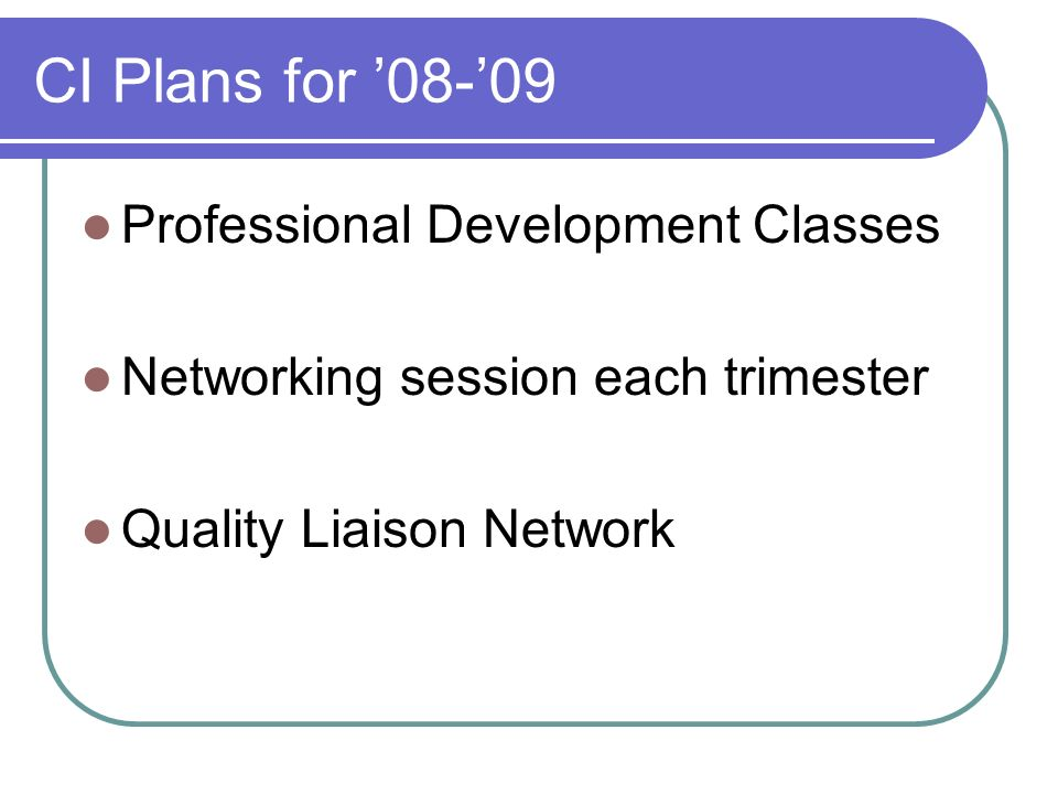 CI Plans for 08-09 Professional Development Classes Networking session each trimester Quality Liaison Network