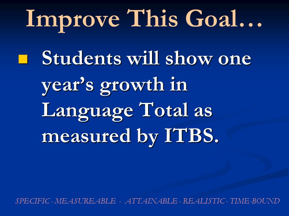Improve This Goal… Students will show one years growth in Language Total as measured by ITBS.