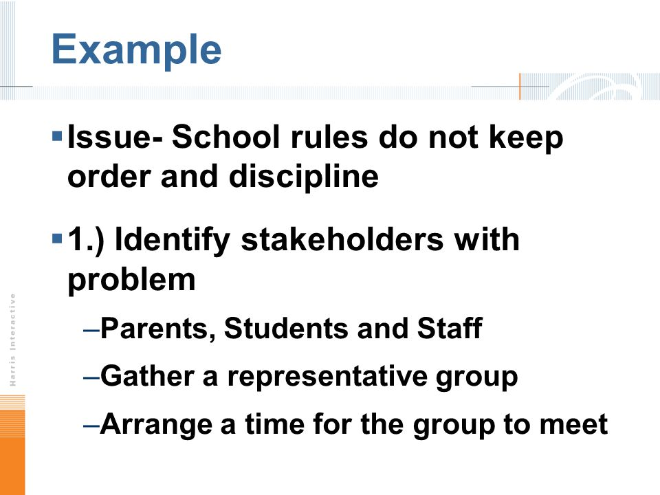 Example Issue- School rules do not keep order and discipline 1.) Identify stakeholders with problem –Parents, Students and Staff –Gather a representative group –Arrange a time for the group to meet