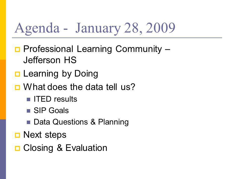 Agenda - January 28, 2009 Professional Learning Community – Jefferson HS Learning by Doing What does the data tell us.