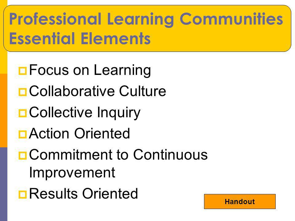 Focus on Learning Collaborative Culture Collective Inquiry Action Oriented Commitment to Continuous Improvement Results Oriented Professional Learning Communities Essential Elements Handout