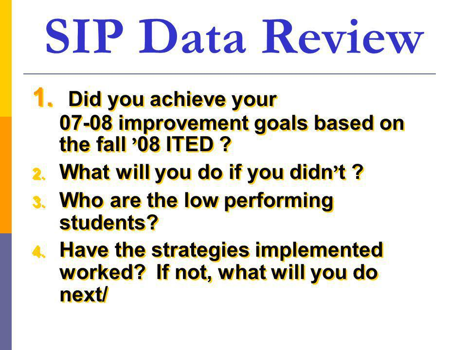 SIP Data Review 1. Did you achieve your 07-08 improvement goals based on the fall 08 ITED .