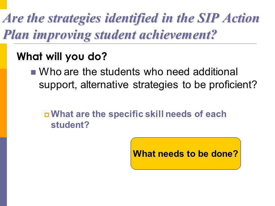 Are the strategies identified in the SIP Action Plan improving student achievement.