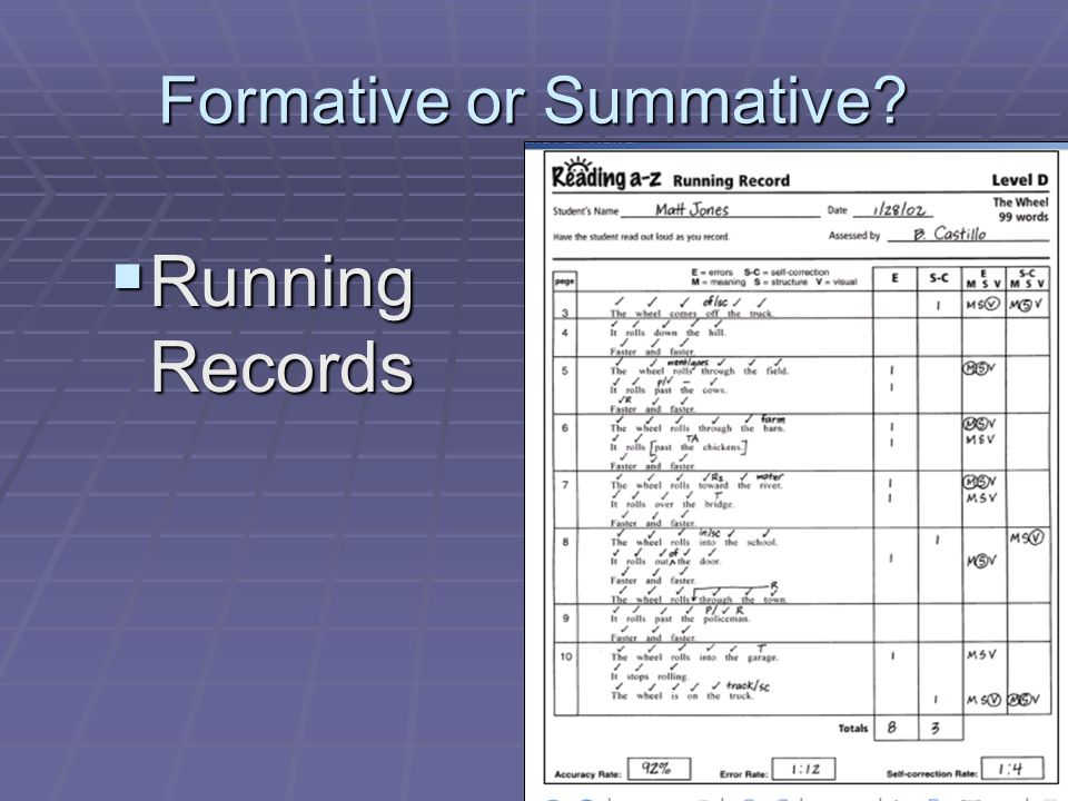 Formative or Summative? Running Records Running Records
