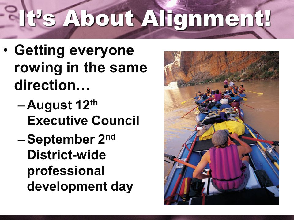 Its About Alignment! Getting everyone rowing in the same direction… –August 12 th Executive Council –September 2 nd District-wide professional develop