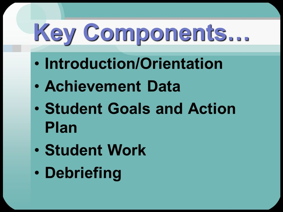 Key Components… Introduction/Orientation Achievement Data Student Goals and Action Plan Student Work Debriefing
