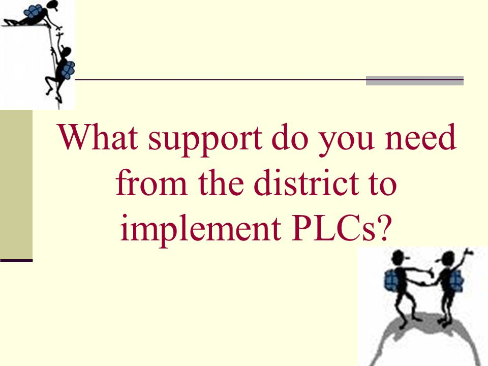 What support do you need from the district to implement PLCs?