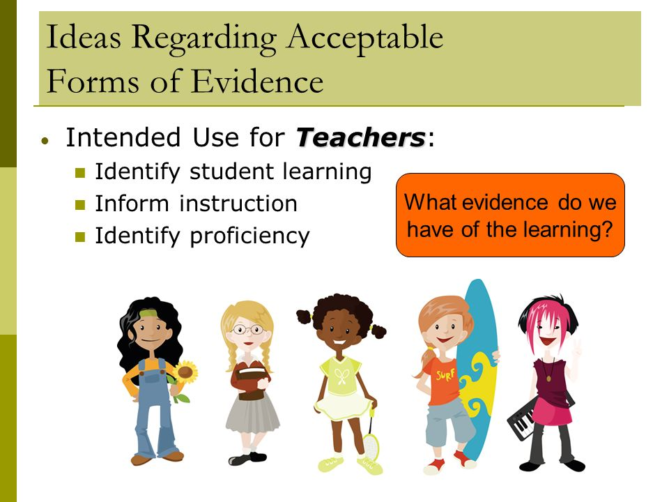 Ideas Regarding Acceptable Forms of Evidence Teachers Intended Use for Teachers: Identify student learning Inform instruction Identify proficiency Wha