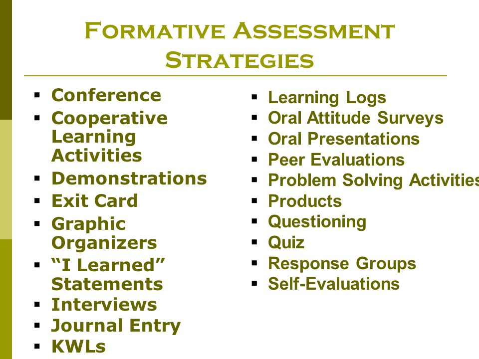 Formative Assessment Strategies Conference Cooperative Learning Activities Demonstrations Exit Card Graphic Organizers I Learned Statements Interviews