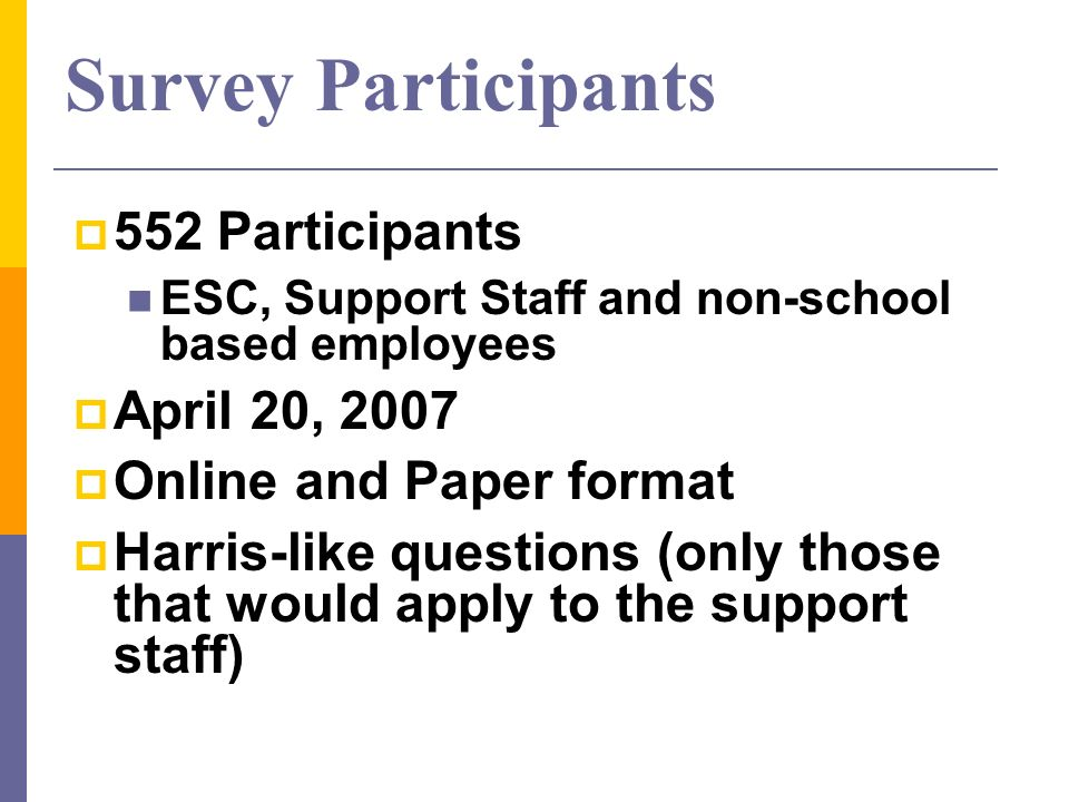 Survey Participants 552 Participants ESC, Support Staff and non-school based employees April 20, 2007 Online and Paper format Harris-like questions (only those that would apply to the support staff)