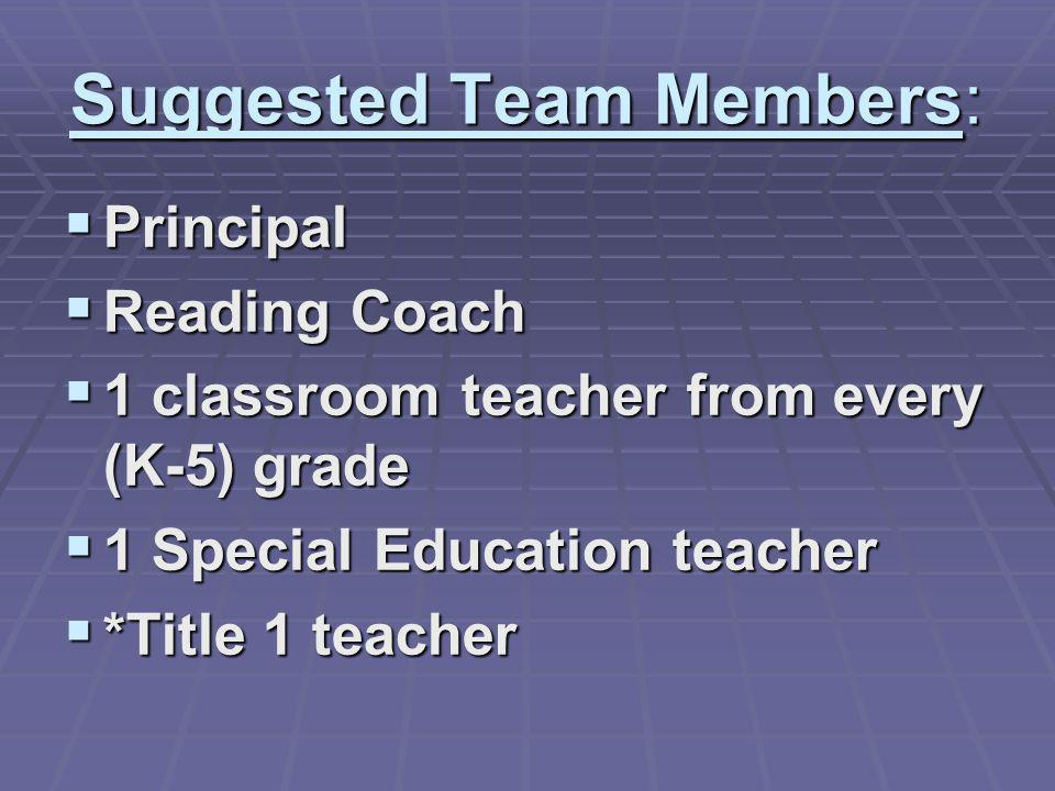 Suggested Team Members: Principal Principal Reading Coach Reading Coach 1 classroom teacher from every (K-5) grade 1 classroom teacher from every (K-5