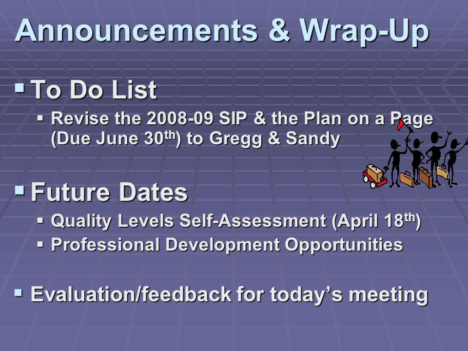 Announcements & Wrap-Up To Do List To Do List Revise the 2008-09 SIP & the Plan on a Page (Due June 30 th ) to Gregg & Sandy Revise the 2008-09 SIP &