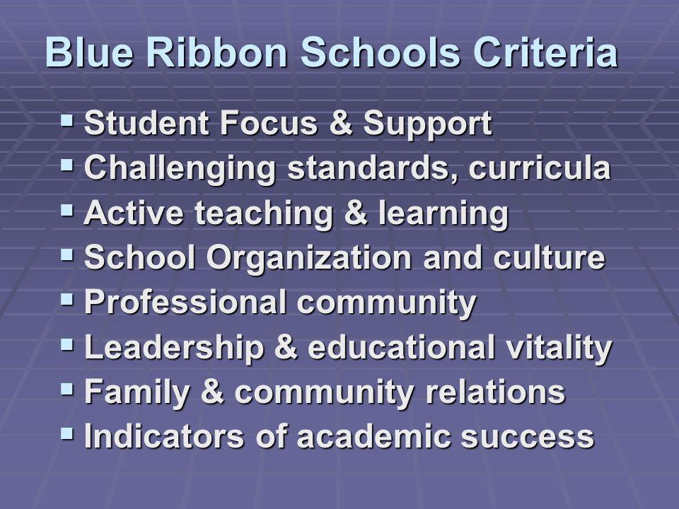 Blue Ribbon Schools Criteria Student Focus & Support Student Focus & Support Challenging standards, curricula Challenging standards, curricula Active