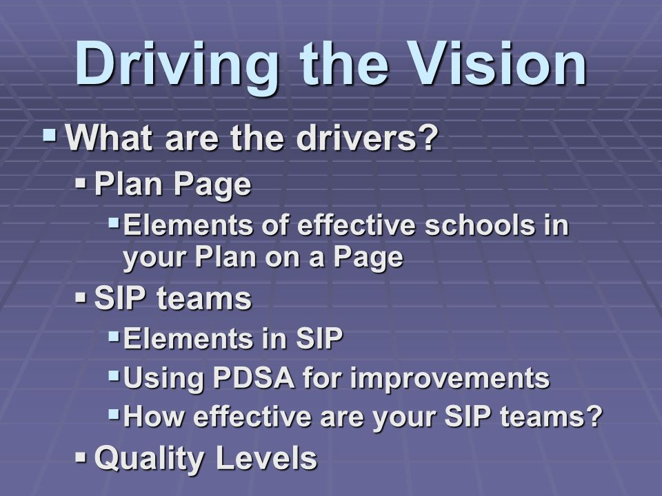 Driving the Vision What are the drivers? What are the drivers? Plan Page Plan Page Elements of effective schools in your Plan on a Page Elements of ef
