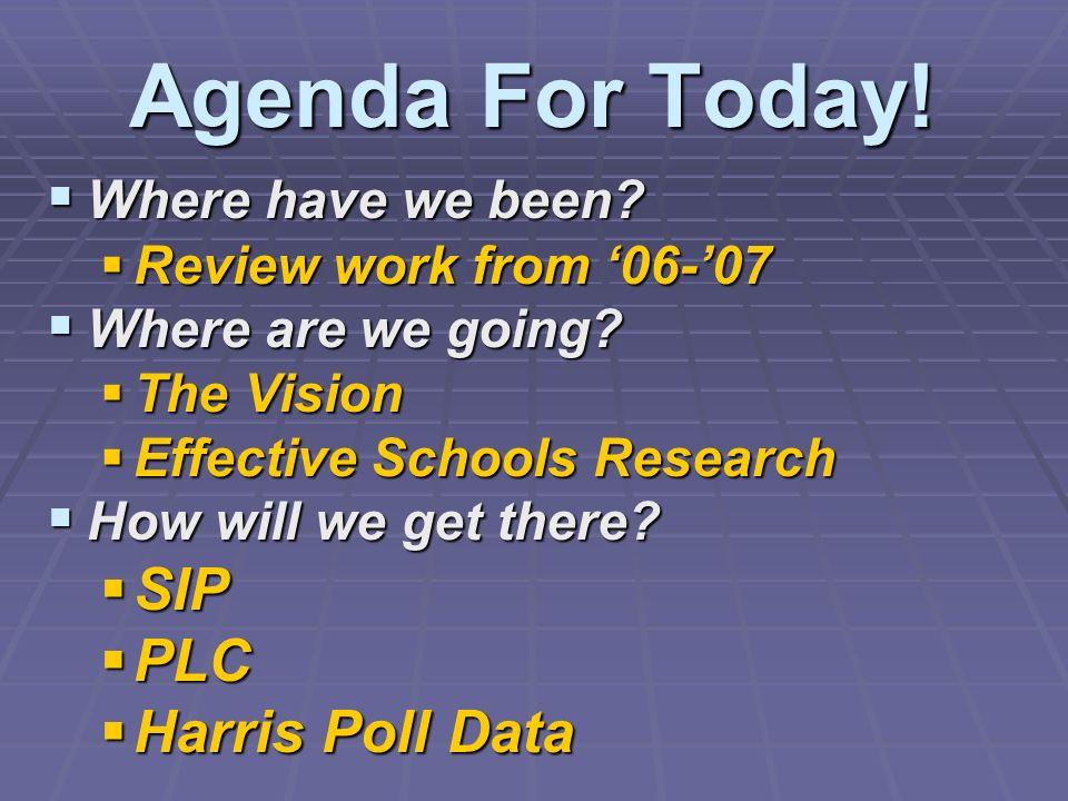 Agenda For Today! Where have we been? Where have we been? Review work from 06-07 Review work from 06-07 Where are we going? Where are we going? The Vi