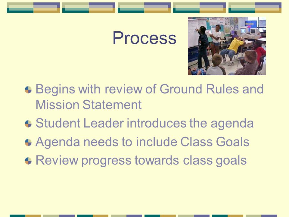 Process Begins with review of Ground Rules and Mission Statement Student Leader introduces the agenda Agenda needs to include Class Goals Review progress towards class goals