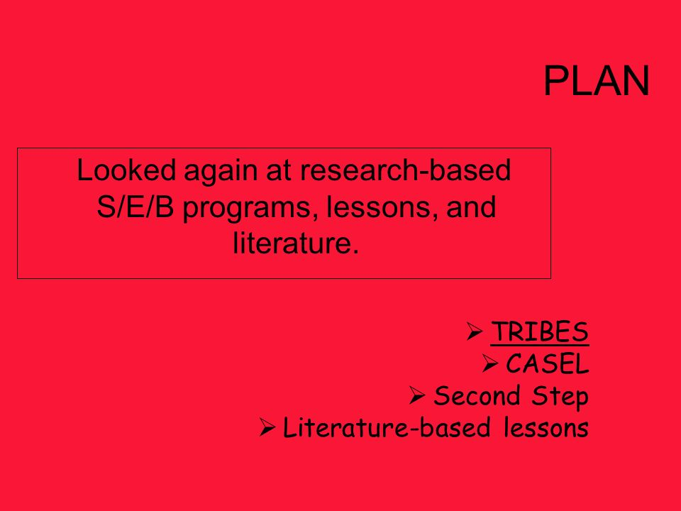 Looked again at research-based S/E/B programs, lessons, and literature. TRIBES CASEL Second Step Literature-based lessons