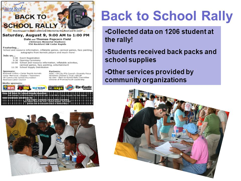 Collected data on 1206 student at the rally! Students received back packs and school supplies Other services provided by community organizations Back