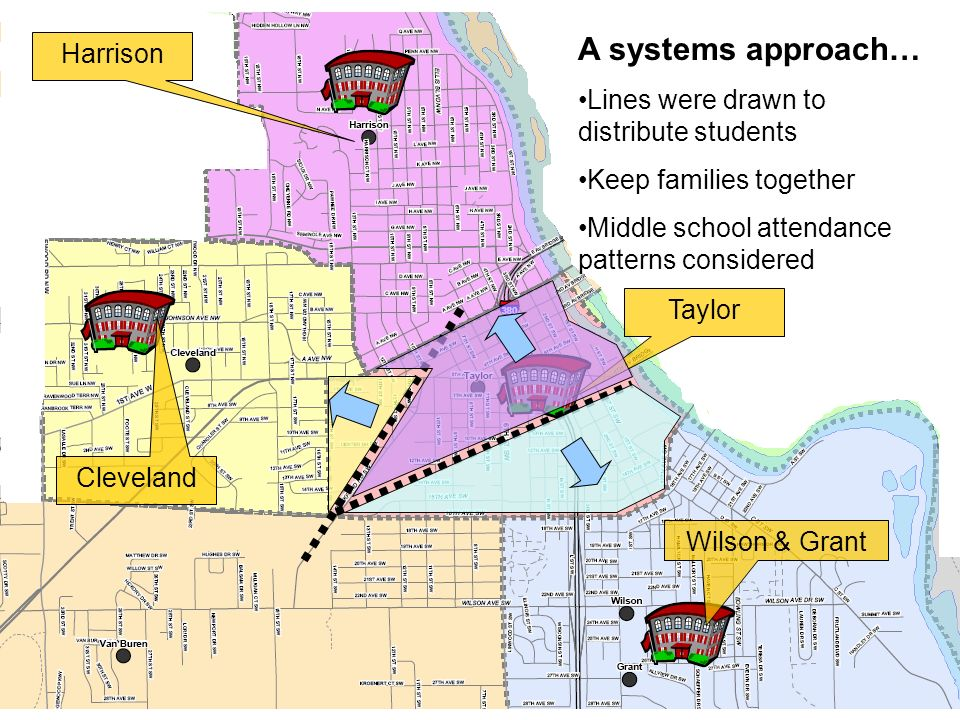 Wilson & GrantHarrisonTaylor Cleveland A systems approach… Lines were drawn to distribute students Keep families together Middle school attendance patterns considered