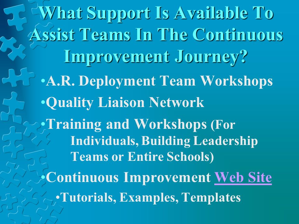 What Support Is Available To Assist Teams In The Continuous Improvement Journey? A.R. Deployment Team Workshops Quality Liaison Network Training and W