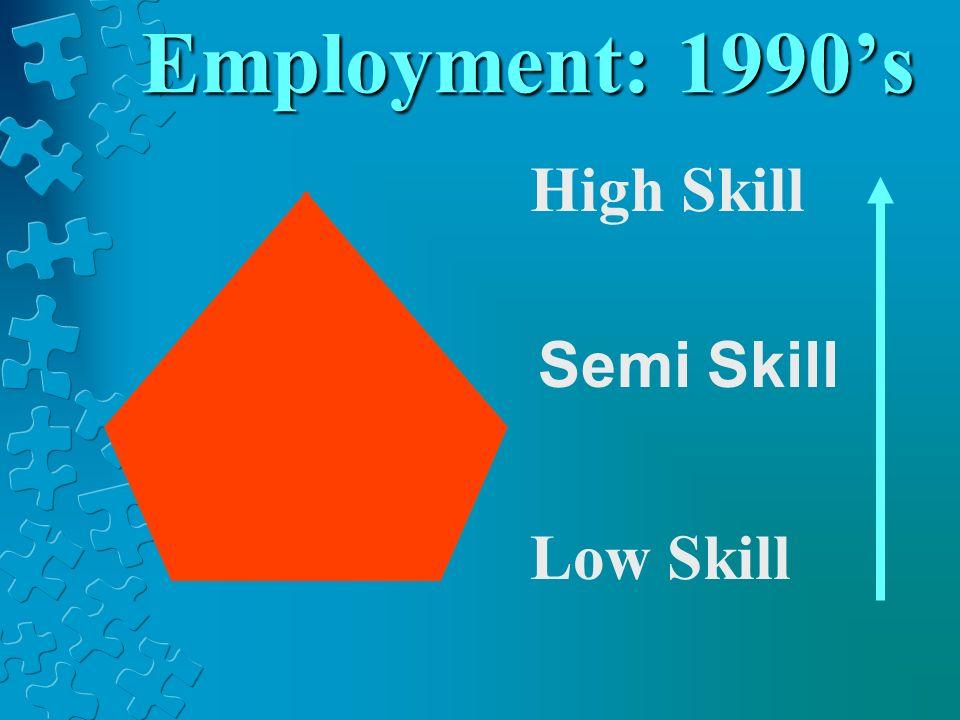 Employment: 1990s High Skill Low Skill Semi Skill
